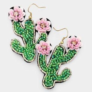 Jewelry - 🌵Green Pink Cactus Flower Beaded Earrings